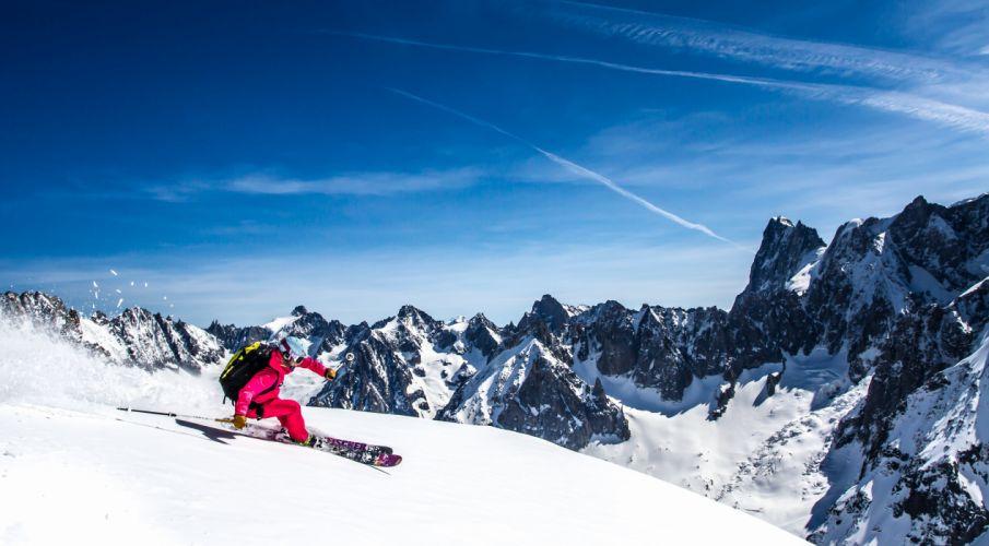 Skiing Mountains Sky Snow Sport Nature wallpaper