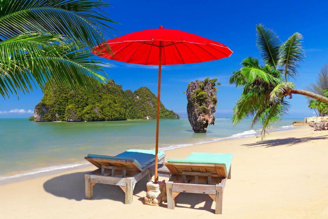 Thailand Tropics Coast Crag Sand Sunlounger Umbrella Palma Phuket Nature wallpaper