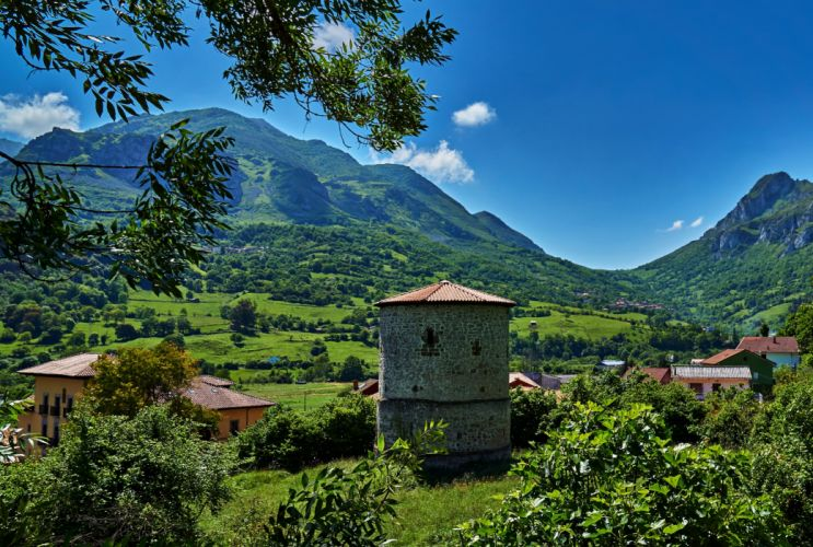 Spain Scenery Mountains Houses Sky Trees Proaza Asturias Nature wallpaper