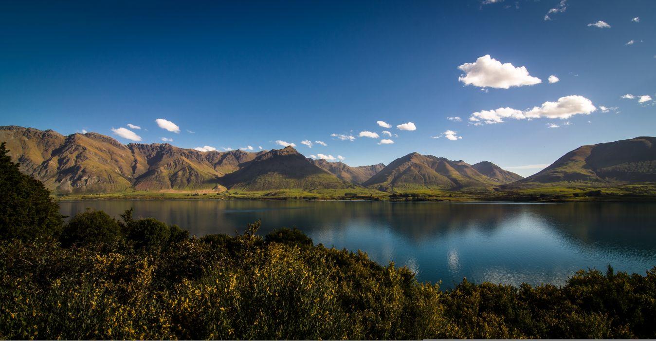 Sky Mountains Lake Scenery New Zealand Lake Wakatipu Mount Nicholas Otago Nature wallpaper