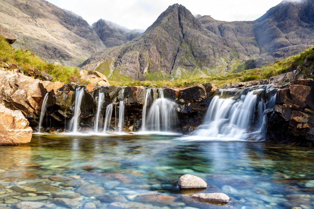Scotland Waterfalls Mountains Stones Highland Nature wallpaper