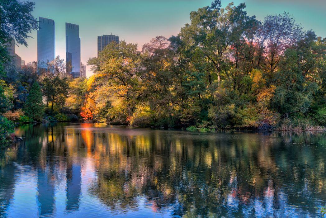 USA Parks Lake New York City Trees Nature wallpaper
