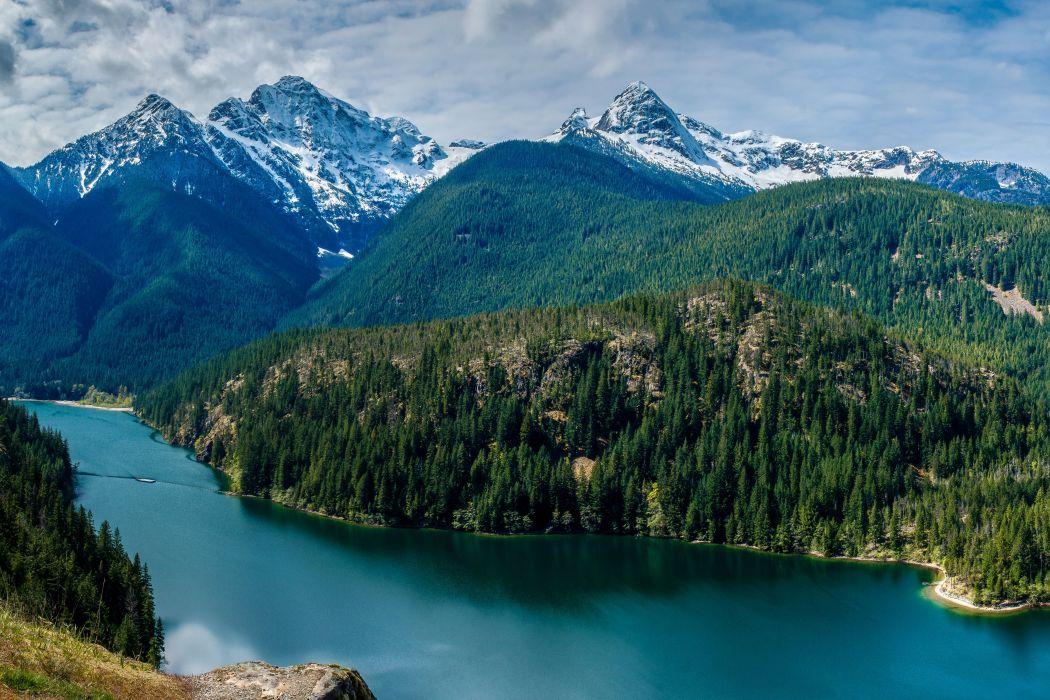 USA Scenery Mountains Lake Forests Diablo Lake Nature wallpaper