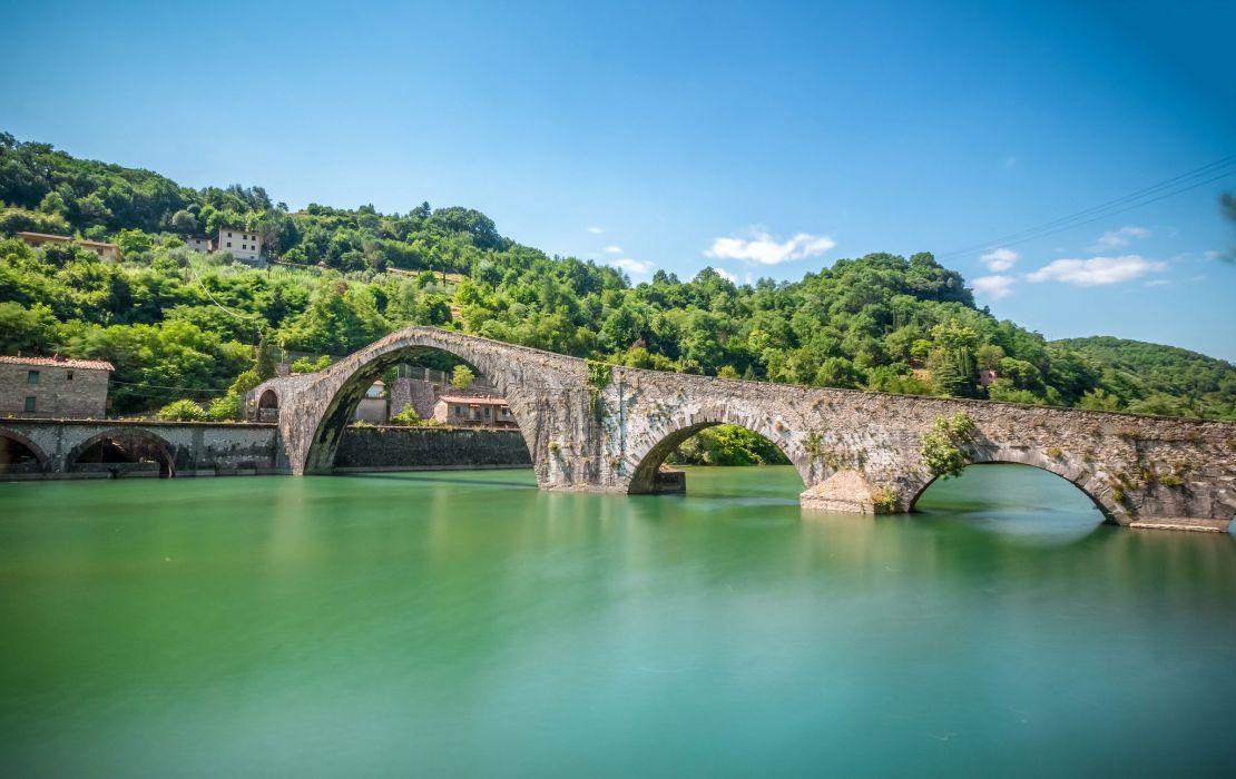 Bridges Rivers Italy Borgo a Mozzano Tuscany Maria Magdalena Nature wallpaper