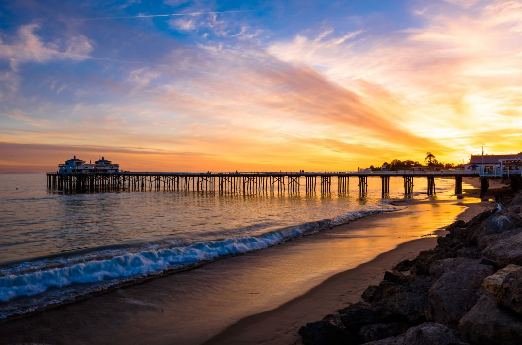 USA Sunrises and sunsets Marinas Sky Coast Sea Waves Malibu Nature wallpaper