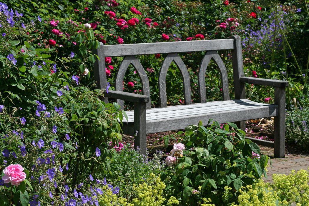 England Gardens Roses Bells Bench Rosemoor Gardens Devon Nature wallpaper