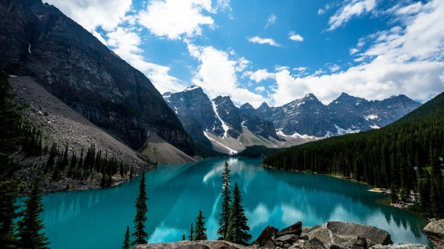 Mountains Scenery Forests Lake Sky Canada lake louise Nature wallpaper