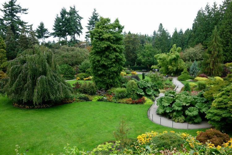 Canada Gardens Vancouver Trees Shrubs Lawn Queen Elizabeth Garden Nature wallpaper