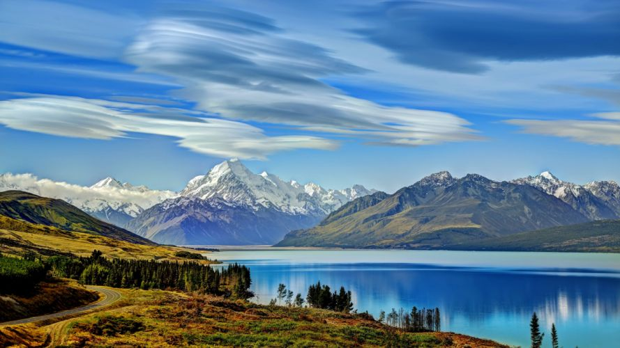 Mountains Sky Scenery Lake New Zealand pukaki Nature wallpaper