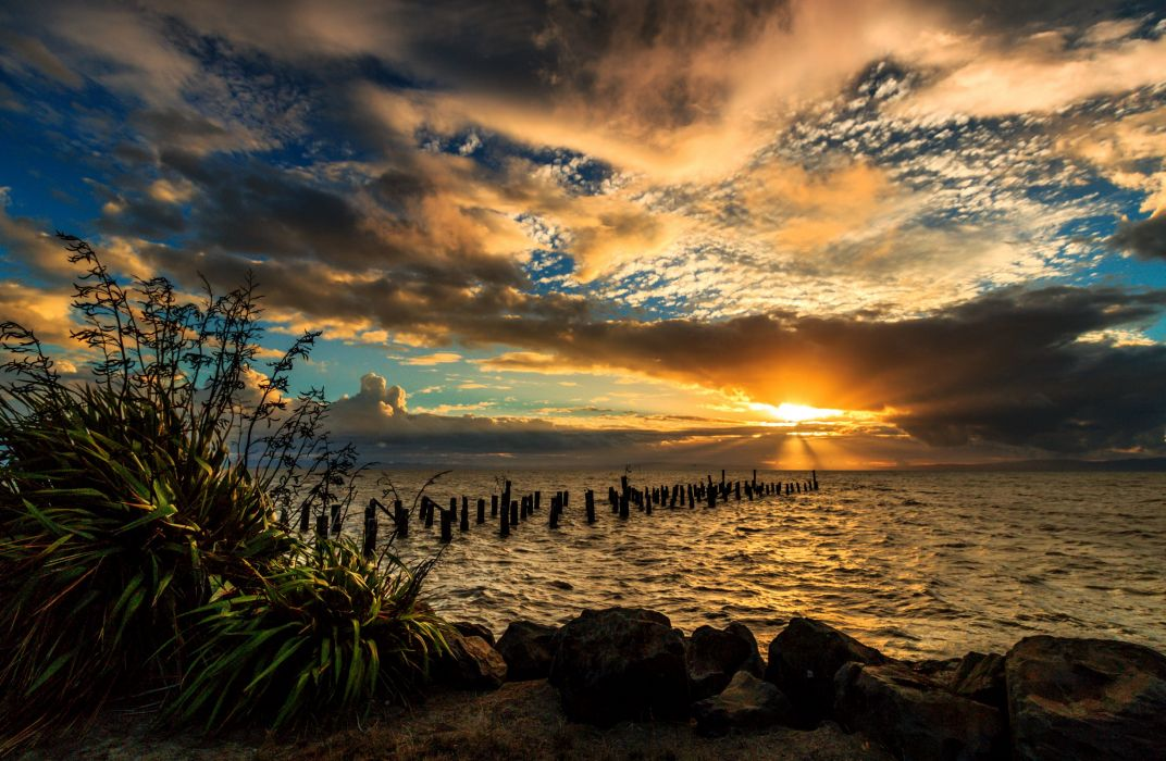 New Zealand Scenery Sunrises and sunsets Sea Sky Clouds Nature wallpaper