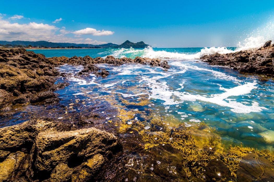 New Zealand Coast Stones Waves Scenery Nature wallpaper