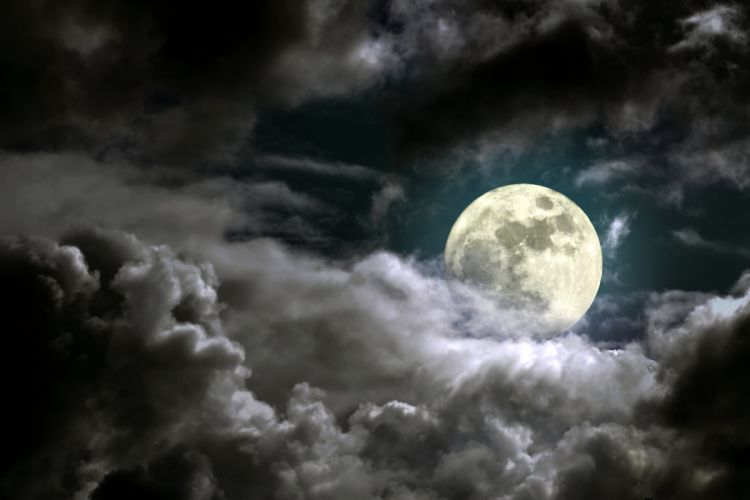 Sky Moon Clouds Night Nature wallpaper