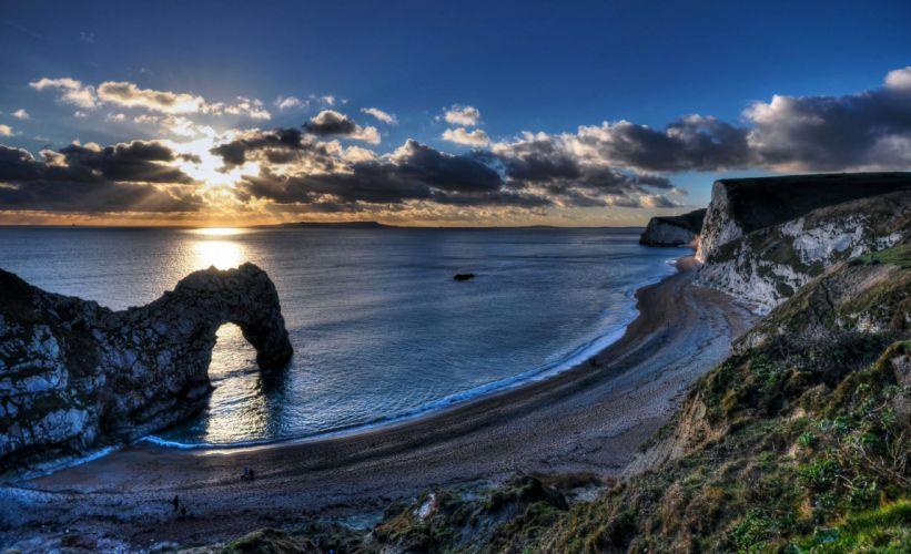 United Kingdom Coast Sunrises and sunsets Scenery Clouds Newlands Nature wallpaper