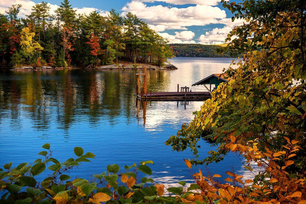 USA Lake Marinas Autumn New York City Trees Lake George Nature wallpaper