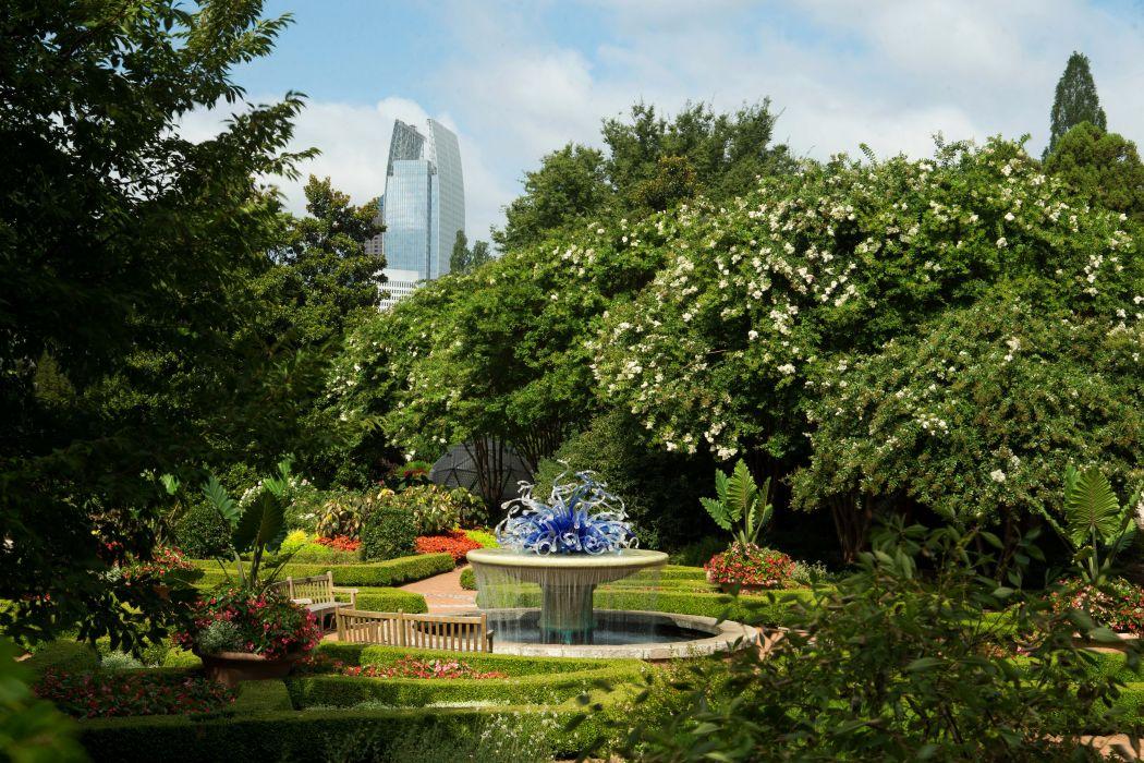 USA Gardens Fountains California Trees Shrubs Earl Burns Miller Japanese Garden Nature wallpaper