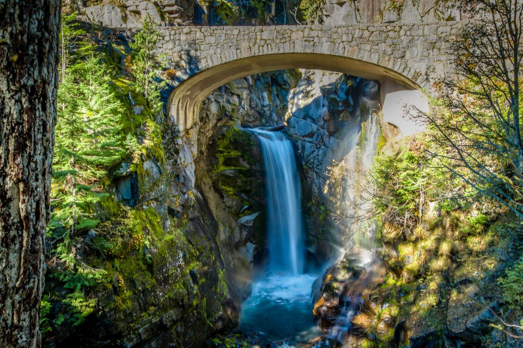 USA Parks Waterfalls Bridges Christine Falls Mt Rainier National Park Nature wallpaper