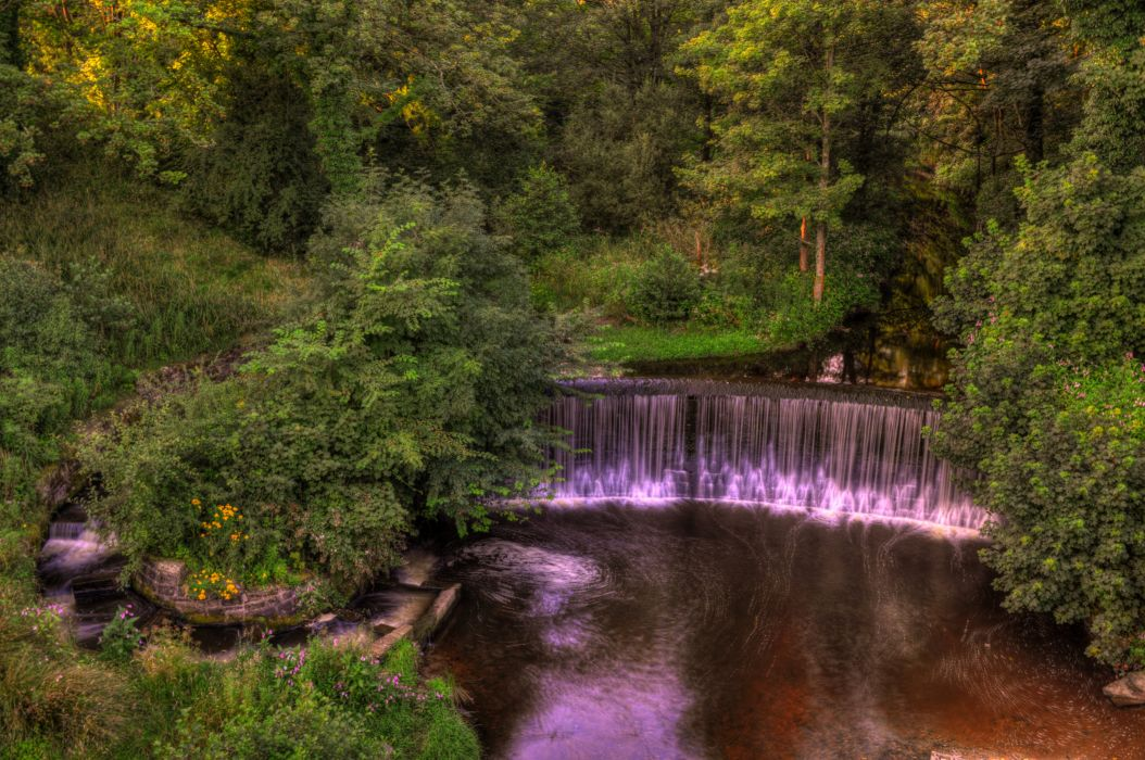 England Parks Waterfalls Forests Yarrow valley park Nature wallpaper
