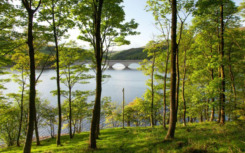 England Rivers Bridges Summer Trees Ladybower Reservoir Derbyshire Nature wallpaper