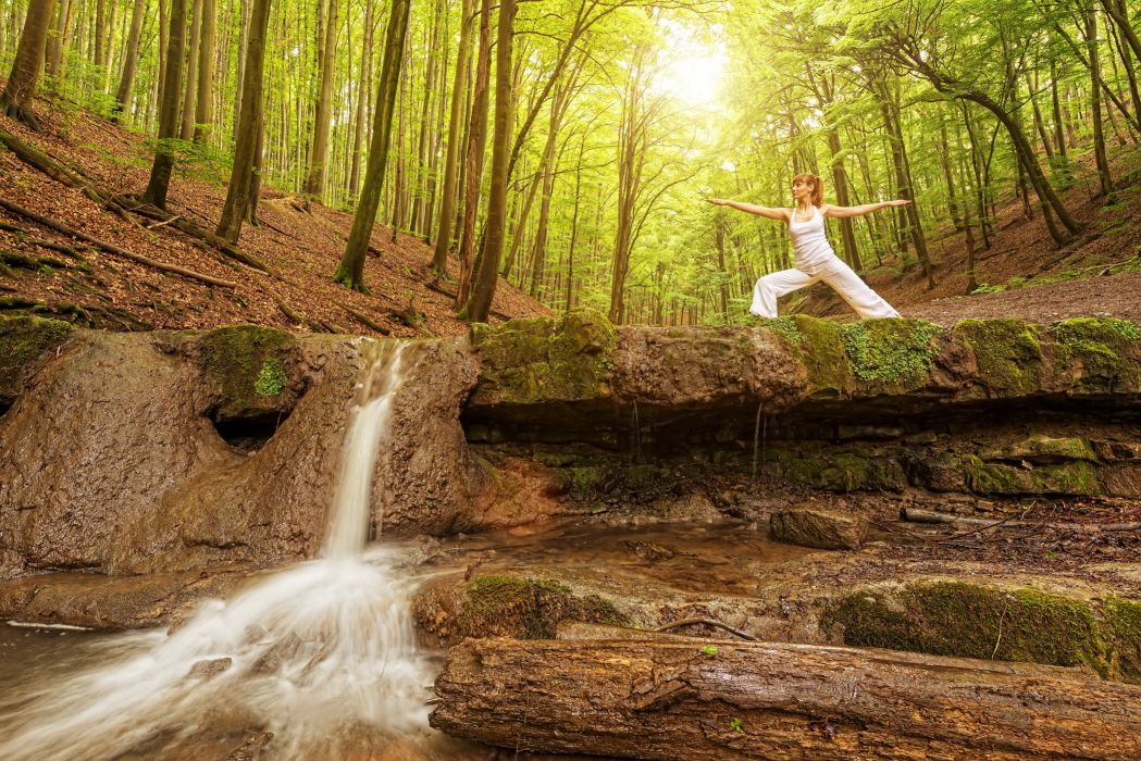 Forests Waterfalls Brown haired Nature Girls wallpaper