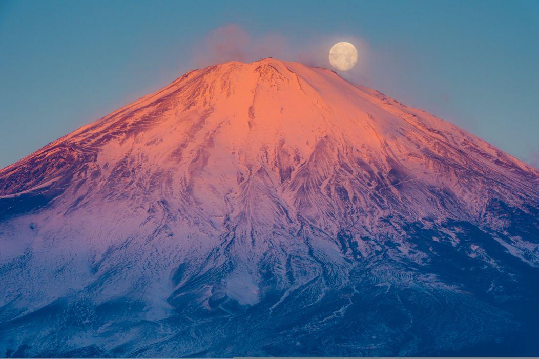 Japan Volcano Moon Fuji Nature wallpaper