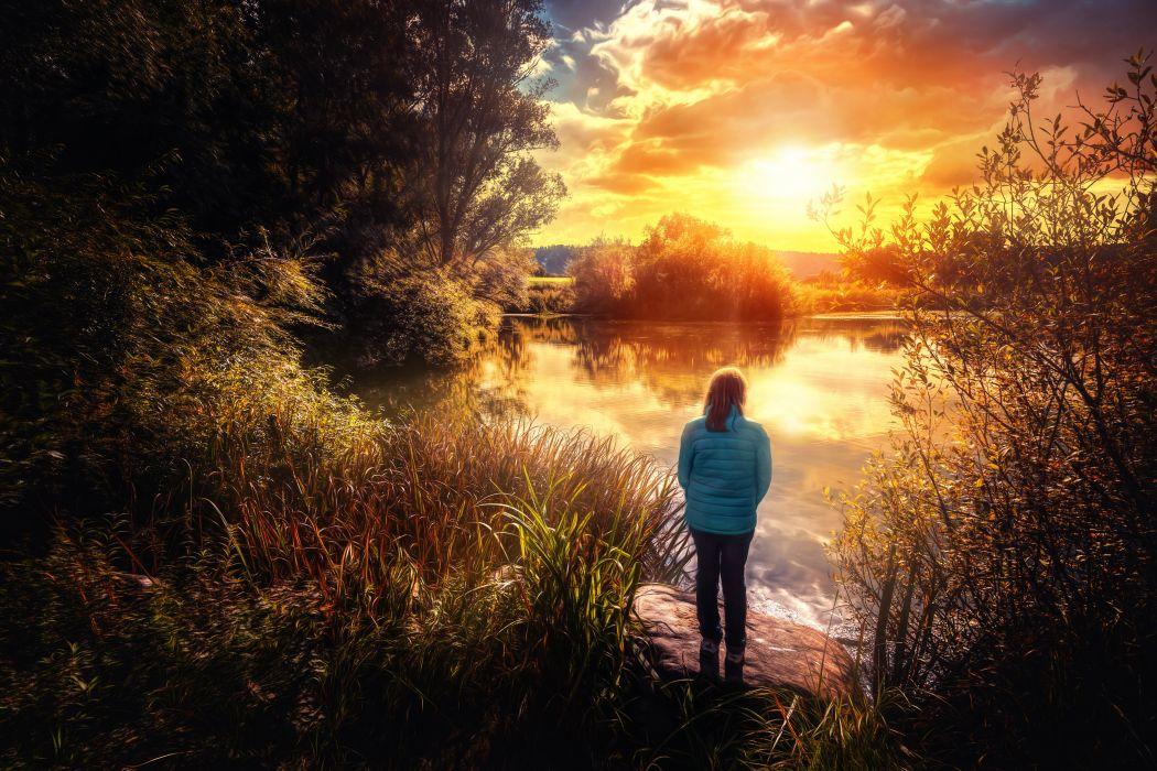 Lake Sunrises and sunsets Nature wallpaper