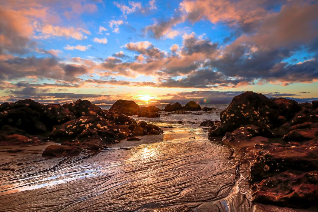 Scenery Sunrises and sunsets Coast Sky Clouds Nature wallpaper