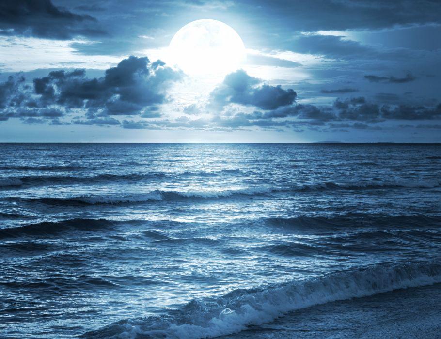 Sea Sky Clouds Moon Horizon Nature wallpaper