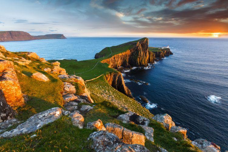 Scotland Lake Coast Scenery Stones Sea Sky Milovaig Nature wallpaper
