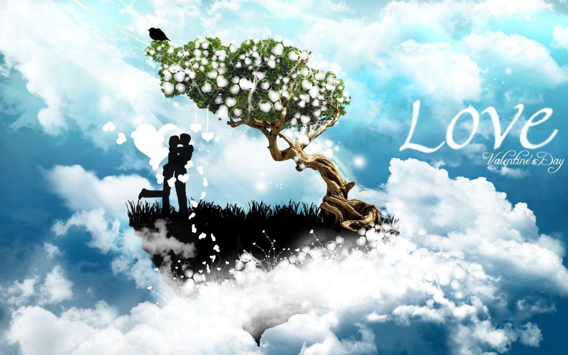 amor enamorados nubes arbol wallpaper