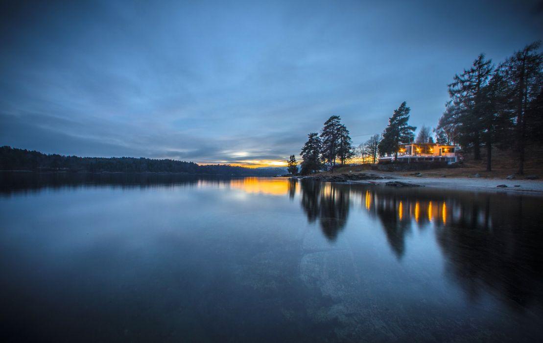 Evening Coast Norway Nature wallpaper