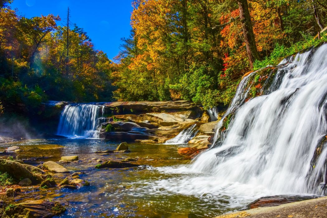 Forests Waterfalls Rivers Autumn Nature wallpaper