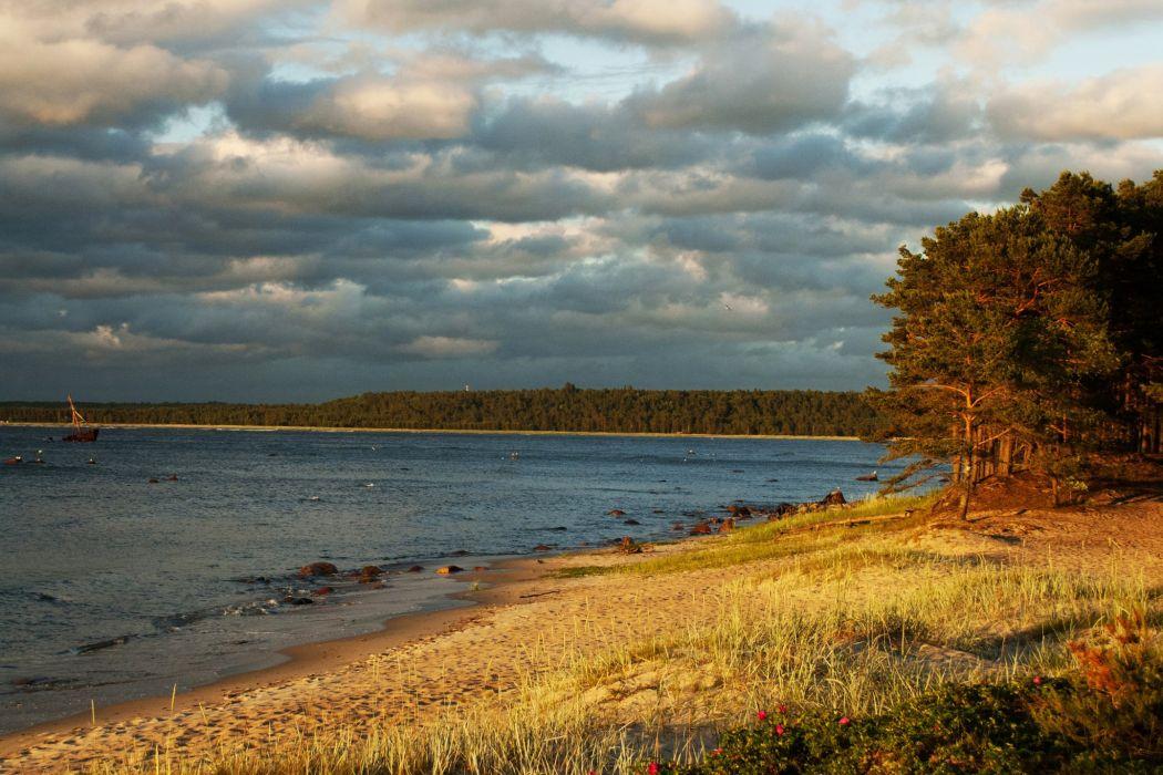 Estonia Rivers Coast Autumn Clouds Trees Lohusalu Nature wallpaper