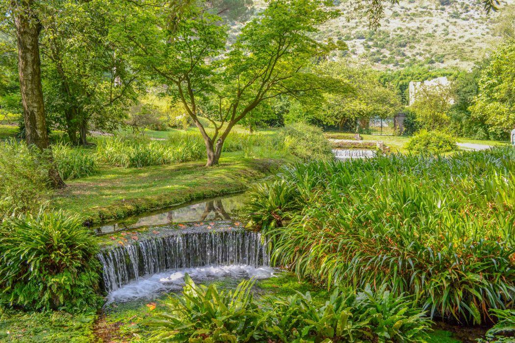Italy Parks Waterfalls Summer Trees Garden of Ninfa Nature wallpaper