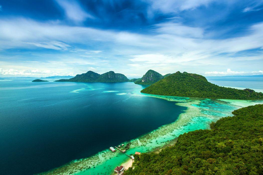 Malaysia Tropics Coast Island Sky Bohey Dulang Island Nature wallpaper