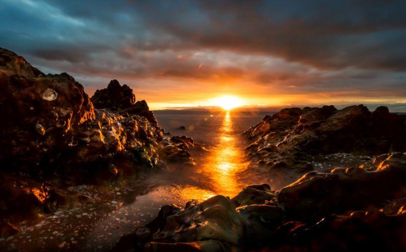 Scenery Sunrises and sunsets Coast Crag Nature wallpaper