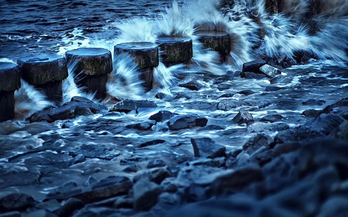 Sea Stones Waves Nature wallpaper