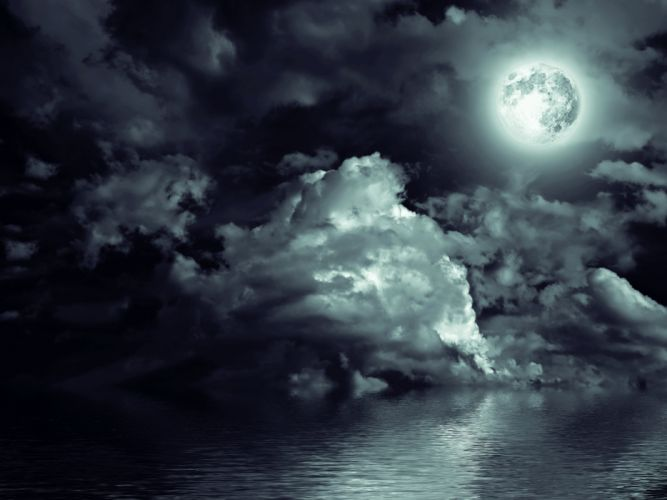 Sky Water Night Moon Clouds Nature wallpaper