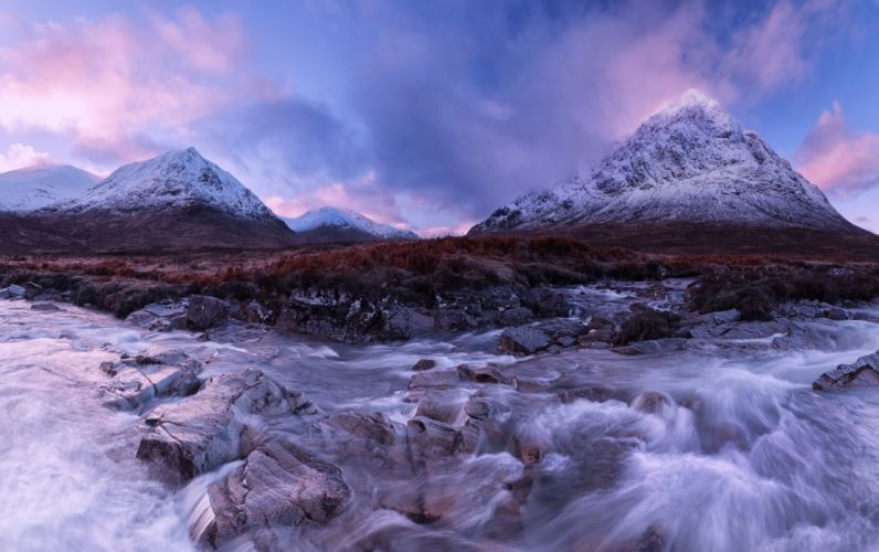 Scotland Rivers Mountains Stones River Coupall Nature wallpaper