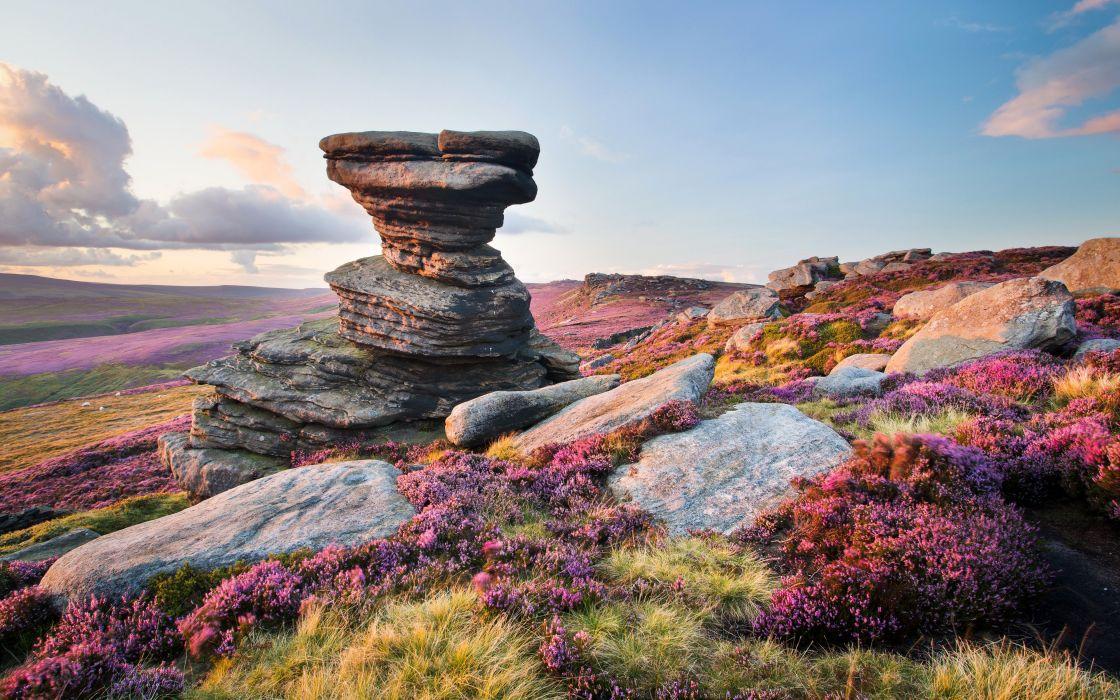 United Kingdom Scenery Stones Grasslands Derwent Edge Nature wallpaper