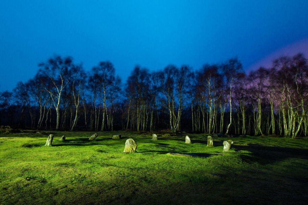 United Kingdom Stones Fields Trees Grass Night Stanton Moor Nature wallpaper