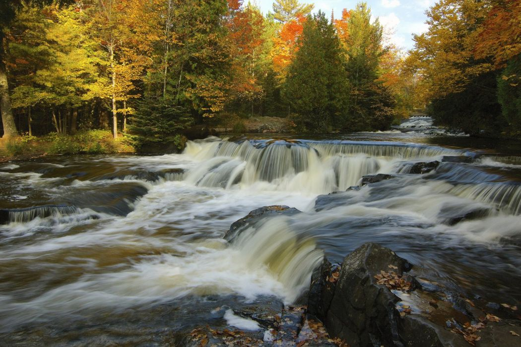 Waterfalls Rivers Autumn Nature wallpaper