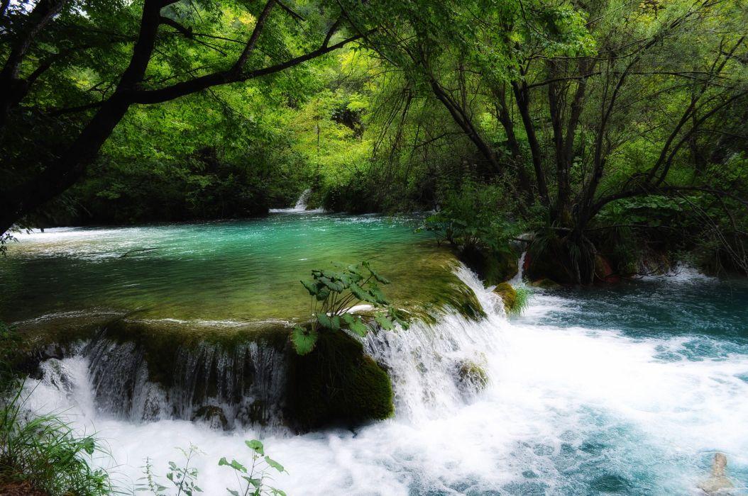 Waterfalls Rivers Nature b wallpaper