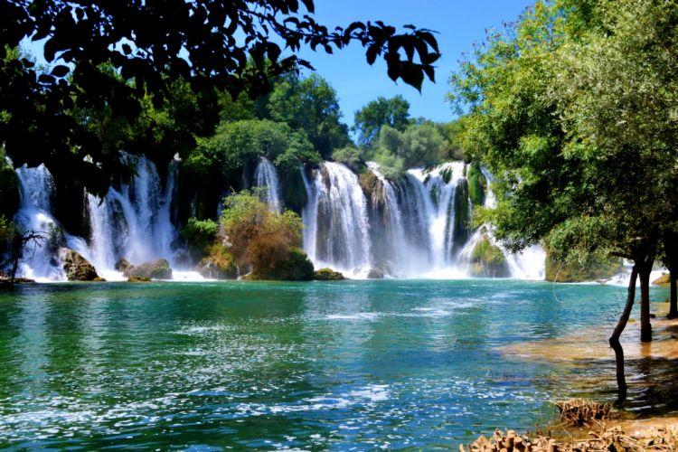 Bosnia and Herzegovina Parks Waterfalls Rivers Kravice Nature wallpaper