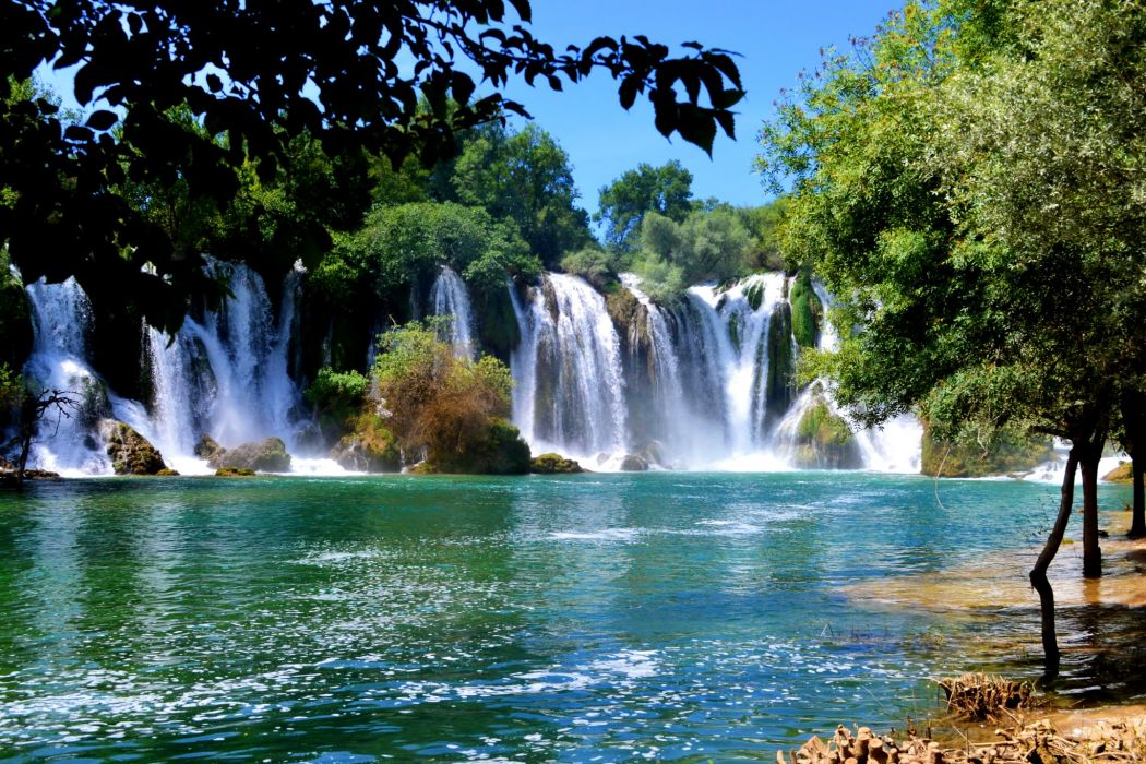 Bosnia and Herzegovina Parks Waterfalls Rivers Kravice Nature wallpaper
