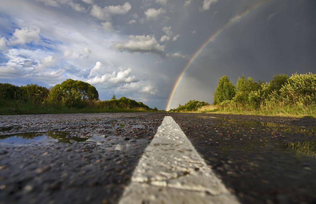 Asphalt Rainbow Clouds Nature wallpaper