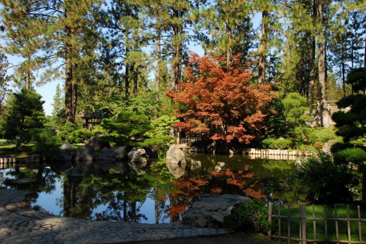 USA Parks Pond Trees Shrubs Manito Park Spokane Nature wallpaper