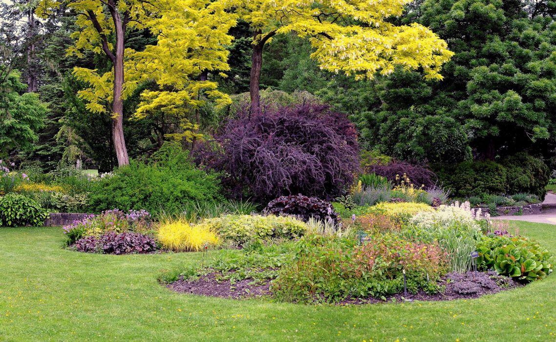 Canada Gardens Vancouver Lawn Shrubs Trees Fir VanDusen Botanical Garden Nature wallpaper