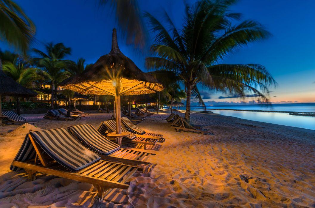 Mauritius Tropics Coast Evening Sand Palma Street lights Sunlounger Nature wallpaper