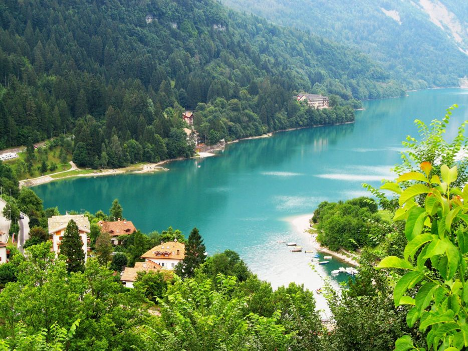 Italy Rivers Forests Houses Scenery Molveno Nature wallpaper