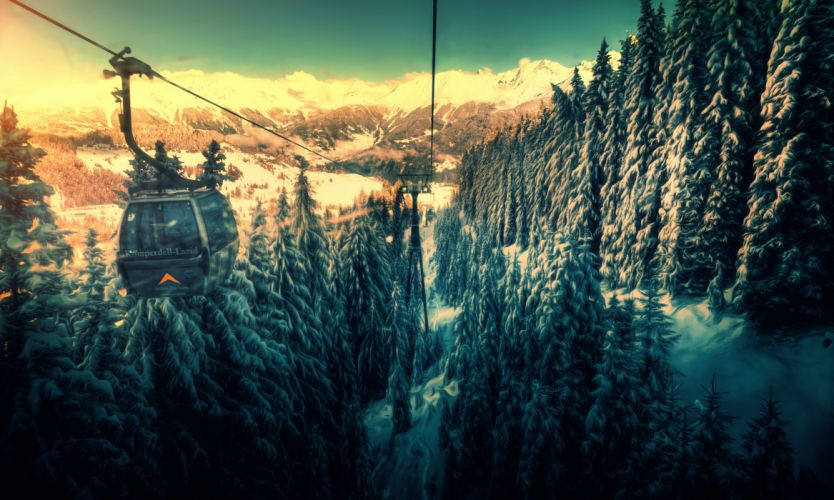 Forests Mountains Funicular Nature wallpaper